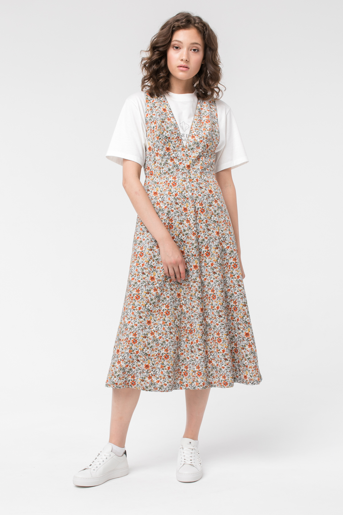 Платье-сарафан из вельвета с принтом