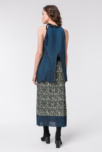 Плиссированная юбка из трикотажа с узором