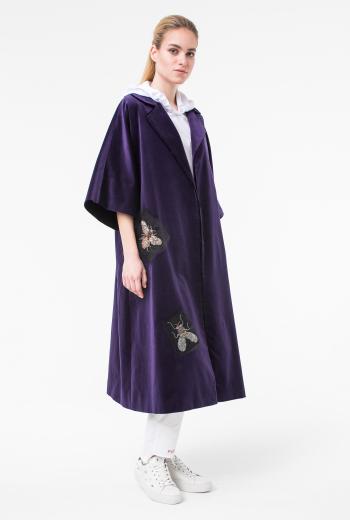 Бархатное платье-халат с декором