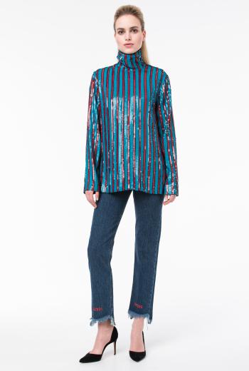 Блуза в полоску с пайетками