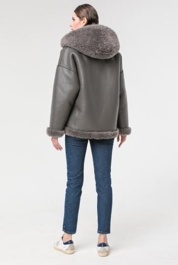 Двусторонняя меховая куртка с капюшоном